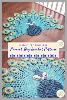 Peacock Rug Crochet Pattern | Beautiful Crochet Pattern.  This would make a wonderful gift for baby shower nursery.  #peacock #crochetpattern #ad #crochetrug #baby #nurserydecor #babyshowergift