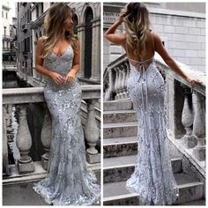 Sexy Mermaid Lace Tulle Prom Dresses, Newest Prom Dresses, Long Prom Dresses, Lace Prom Dresses, Gray Prom Party Dress