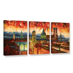 Munich Skyline With Alps Panorama by Marcus/Martina Bleichner 3 Piece Painting Print on Gallery Wrapped Canvas Set