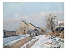 The Road from Gisors to Pontoise, Snow Effect, 1872 by Camille Pissarro
