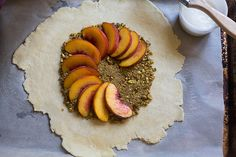 // peach pistachio galette