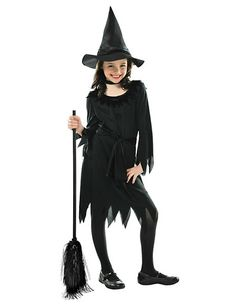 Girls Lil Witch costume features a pullover dress with serrated hem and cuffs and a black fabric belt. A matching witch hat completes this witch costume. Halloween Costumes Party City, Fete Halloween, Halloween Fancy Dress, Halloween Outfits, Halloween Kids, Halloween 2018, Wicked Witch Costume, Kids Witch Costume, Girl Costumes