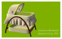 Here is Emysimss' Bentwood Bassinet for TS2! It's a fucntional crib that requires FreeTime. It fits baby sims just perfectly! :D There is also an optional mattress insert that comes in two colours. A small warning though - this item is high-poly! It also comes with a blanket that you need to use…