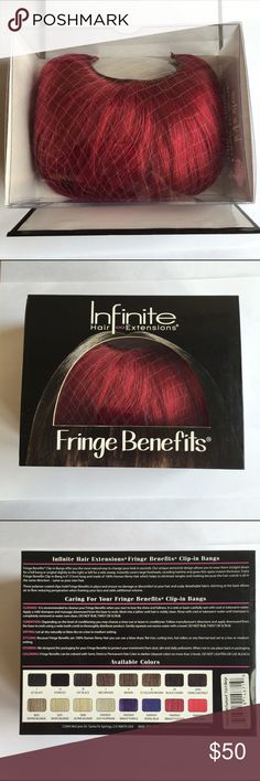 """Fuchsia-Colored Clip-In Bangs Hair extensions' clip-in bangs by Infinite Hair Extensions. 1 piece 6"""" long and 4.5"""" wide. Semicircle design. Efficient and high quality clips. These are Fantasy Bright Fuchsia. Last two photos portray color best. NWT and in original packaging. #K075 Infinite Hair Extensions  Accessories Hair Accessories"""