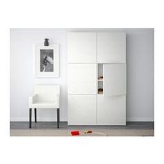 IKEA - BESTÅ, Combi almacenaje con puertas, Laxviken blanco, , Puedes escoger entre la función de cierre suave, que hace que la puerta se cierre silenciosamente, y la de apertura a presión, que te permite abrirla con un ligero golpecito.Como la altura de las baldas es regulable, podrás adaptar el espacio a tus necesidades.