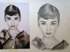 Audrey Hepburn resim sanat karakalem portre yüz face resim güzel Nesrin Sert Demir