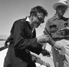 James Dean at the race track. Probably Palm Springs, March 27, 1955. His first official race.