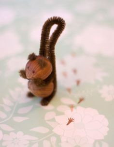 DIY tiny squirrel made from hazelnuts