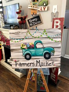 Farmer's Market Vintage Truck Canvas Art by Jillianne Renee with Happy Daisy Art Studio! Easy Canvas Painting, Autumn Painting, Autumn Art, Tole Painting, Diy Canvas, Diy Painting, Painting & Drawing, Canvas Art, Canvas Paintings