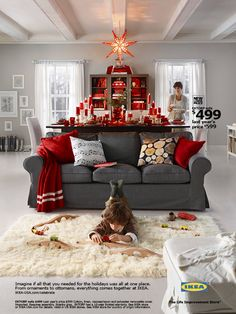 Christmas Living Room Decor  Christmas Decoration Ideas Christmas Entrancing Gray And Red Living Room Interior Design Decorating Design