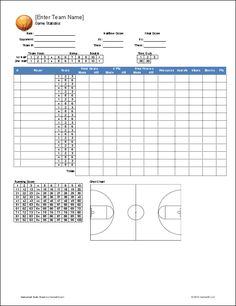 This Basketball Score Sheet Has Room For Many Details Of A Game