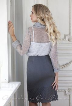 """Charming knitted skirt set suit """"Smoky veil"""" soft mohair blouse with a lush collar and cuffs, pencil skirt with openwork pattern Knit Skirt, Lace Skirt, Tight Pencil Skirt, Ice Dresses, Classic Suit, Collar And Cuff, Beautiful Outfits, Dress Outfits, Skirt Set"""