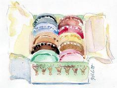 Watercolor box o' macarons