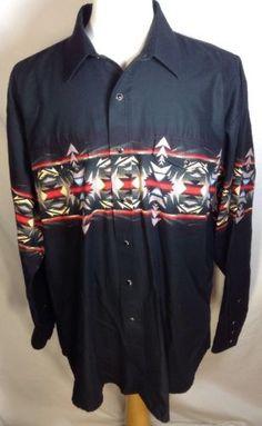Panhandle Slim Shirt XL Pearl Snap Aztec Southwestern Print Western Top Black