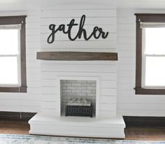 I'm so excited to be sharing our DIY Shiplap Fireplace with you guys today! This project was a beast that took us many months to complete … – Home – fireplace Painted Brick Fireplaces, Shiplap Fireplace, Farmhouse Fireplace, Home Fireplace, Fireplace Remodel, Fireplace Design, Fireplace Ideas, Diy Faux Fireplace, Faux Mantle