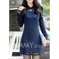 $13.13 Voile Stitching Corsage Embellished Beam Waist Cotton Blend Color Matching Dress For Women