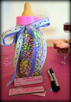 * 19 Baby Shower Games That Are Actually Fun (Really!) guess how many reese's are in the bottle - get a prize- We played this game at Mele'ana's baby shower. Idee Baby Shower, Shower Bebe, Baby Boy Shower, Best Baby Shower Games, Diaper Shower, Shower Party, Baby Shower Parties, Shower Gifts, Baby Showers
