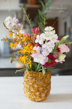 Learn how to make this adorable pineapple vase for fresh flowers!