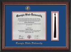 GSU Diploma Frame-Rose Gold L-w/GSU Seal-Tassel-Royal Blue on Red mat – Professional Framing Company