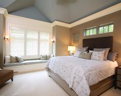 Vaulted Ceiling Design, Pictures, Remodel, Decor and Ideas - Our bedroom uses these colors and now I know how I would like to paint it with our vaulted ceiling and bay windows!