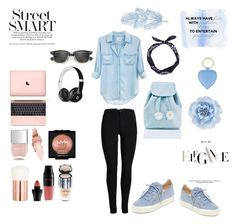 """Outfit Inspiration // Jeans Shirt And Baby Blue"" by peltomakipauliina on Polyvore featuring Rails, Giuseppe Zanotti, Sugarbaby, Ray-Ban, Nails Inc., Maybelline, NYX, Lancôme, Monsoon and Beats by Dr. Dre"