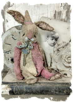 """YOU ARE ENOUGH : 8"""" Worn Rabbit with vintage key charm by Whendi's Bears / Whendi's Bears"""