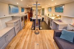 A peak inside our new barge: The galley viewed from the salon. Barge Interior, Yacht Interior, Canal Boat Interior, Aka House, Barge Boat, Narrowboat Interiors, Dutch Barge, Houseboat Living, Make A Boat