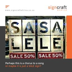 Perhaps this is a chorus to a song or maybe it is just a SALE sign? Communicate your message effectively. Call Signcraft Africa on 011 474 1315 or email us at info@signcraftafrica.co.za #CEOCircle #signagedesign #signcraftafrica #indoorsignage #outdoorsignage Outdoor Signage, For Sale Sign, Signage Design, Africa, Songs, Exterior Signage, Song Books, Afro, Music