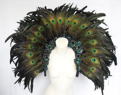 Lady Gaga Peacock Headdress Backpiece by DaNeeNa on Etsy