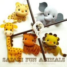 Spin & Musical Baby Mobile with SAFARI Jungle FUN ANIMALS theme (Artist Choice Color) - Crib Mobile for Modern Nursery or Kids Playroom. $175.00, via Etsy.