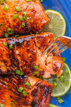 Sauteed Honey-Glazed Salmon is juicy, flaky, easy and so satisfying! Squeeze fresh lime juice over this pan fried honey glazed salmon and serve white rice. | natashaskitchen.com