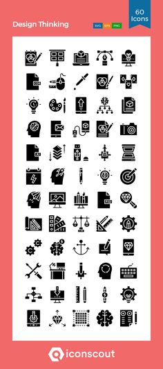 Design Thinking  Icon Pack - 60 Glyph Icons Glyph Icon, Png Icons, Icon Pack, Icon Font, Design Thinking, Glyphs, Design Development, Icon Design, Fonts