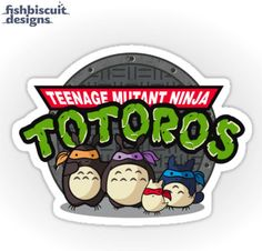 I know Miyazaki isn't technically anime but...  TMNT Totoro Individual Die Cut Sticker by FishbiscuitDesigns, $4.00