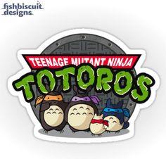 TMNT Totoro Individual Die Cut Sticker by FishbiscuitDesigns, $4.00