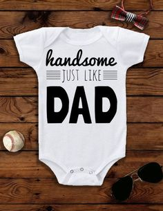 Handsome just like Dad! This is the perfect cool baby outfit for your baby boy's birthday party, or for Father's Day! Shop the onesie here: https://www.etsy.com/listing/265136415/baby-boy-baby-boy-clothes-baby-boy?ref=shop_home_active_14