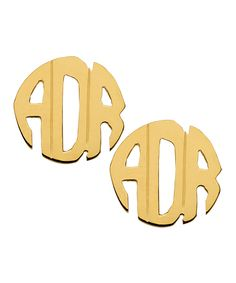 DFV Rose Gold West Avenue Jewelry Block Monogram Earrings