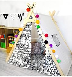 Best 11 Beautiful children tent with black and white ornament. Both sides of the curtain. Personal space for Your kid. Very stable and reliable childrens tent. Even the most mobile and active children will not be able to break! Kids Tents, Teepee Kids, Teepees, Childrens Tent, Baby Tent, A Frame Tent, Diy Teepee, Deco Rose, White Ornaments