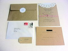 Rustic wedding invitation - brown crafting paper with doily
