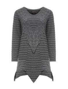 Weit geschnittenes Baumwollshirt in Grau designed von Prisa in der Kategorie Shirts bei navabi.de