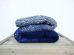 Ocean Wool Sofa Blanket, Handwoven wrap, Blue throw merino wool by TexturableDecor