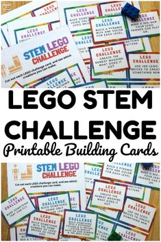 These printable LEGO STEM Building Challenge Cards are a fun way to get kids into STEM building and engineering! Stem For Kids, Summer Activities For Kids, Lessons For Kids, Lego Activities, Library Activities, Kindergarten Lesson Plans, Kindergarten Worksheets, Lego Challenge, Challenge Cards