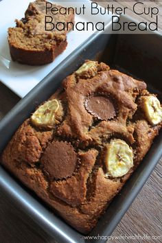 Lightened Up! Peanut Butter Cup Banana Bread :: Made with oat and whole wheat flours, applesauce in place of oil and only a bit of added sugar.  This bread sounds much more decadent than it is!