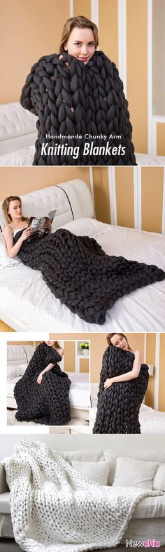 New Handmade Chunky Knit Blanket Thick Yarn Merino Throw Bed Sofa Decor is fashion & kawaii, see other throw blanket on NewChic. Thick Yarn, Chunky Yarn, Chunky Blanket, Arm Knitting, Knitting Patterns, Finger Knitting, Knitting Ideas, Knitting Projects, Crochet Projects