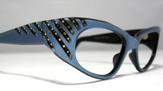 Vintage Cat Eye Glasses Frames Blue with by CollectableSpectacle, $95.00