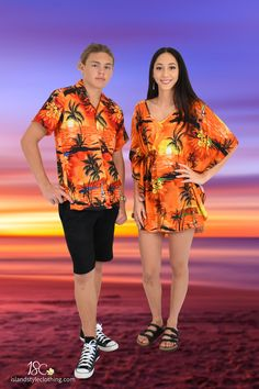 Groovy Matching Couples set in vintage Hawaiian Print 'Orange Sunset'. Fancy Dress Costume, Luau Party, Cruising, Honeymoon or Halloween. Stand out from the crowd in this funky set.  #matchymatchy #cruisewear #honeymoon #tackytourists #islandstyleclothing #fancydress #hawaiianshirt #kaftan #poncho #couplesgoals #fashion #springbreak #cruise #cruiseclothing