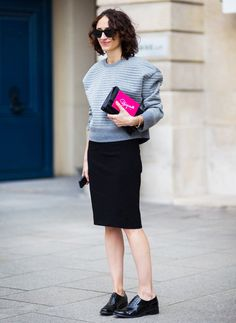 Black pencil skirt paired with black brogues