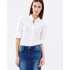 Mavi Leila Classic Long Sleeve Shirt (120 AUD) ❤ liked on Polyvore featuring tops, long sleeve shirts, long sleeve tops, long sleeve collared shirt, slim shirt e white top