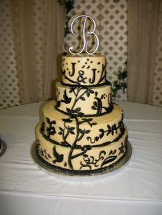 cream and black wedding cake