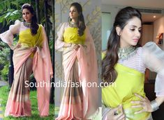 Parul Yadav attended the Mysore Dussehra Film Festival wearing a color block silk saree paired with high neck statement sleeves blouse by Latha Puttanna. Silver jewelry from Silver House and pinned back wavy hair-do rounded out her look! Saree Jacket Designs, Designer Blouse Patterns, Fancy Blouse Designs, Blouse Neck Designs, Saree Blouse Patterns, Saree Wearing Styles, Stylish Blouse Design, Wall Design, Diy Design