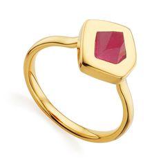 Gold Vermeil Petra Stacking Ring - Pink Quartz - Monica Vinader